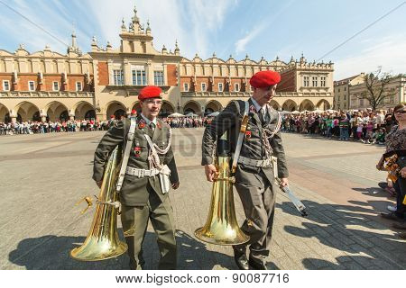 KRAKOW, POLAND - MAY 3, 2015: Military orchestra on main square during annual Polish national and public holiday the Constitution Day. May 3, 1791 was adopted first Constitution of modern Europe.