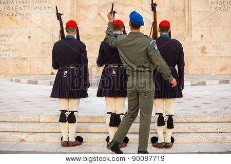 ATHENS, GREECE - CIRCA APR, 2015: Greek soldiers Evzones (or Evzoni) dressed in service uniform, refers to the members of Presidential Guard, an elite ceremonial unit, active from 1833 to present.