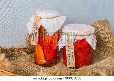 Delicious Sweet Red Pepper Pickles In Jar