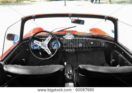 Instrument Panel Of A Db Panhard Red Mans