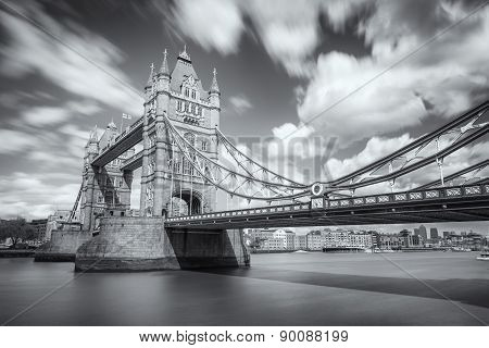 B&w Image Of Tower Bridge And River Thames In London