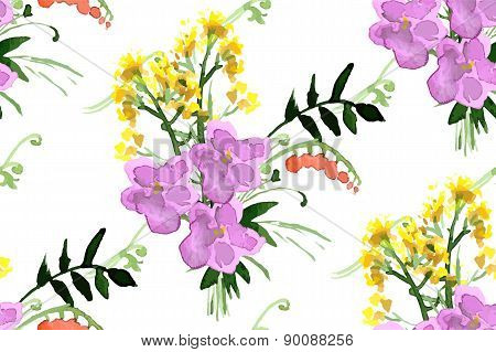 Wild flowers seamless pattern