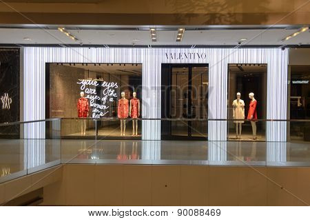 HONG KONG - MAY 05, 2015: Valentino store interior. Valentino SpA is a clothing company founded in 1959 by Valentino Garavani. It is a part of Valentino Fashion Group