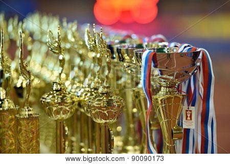 ST. PETERSBURG, RUSSIA - MAY 6, 2015: Awards of the International freestyle wrestling tournament Victory Day. This traditional competitions dedicated to the Victory in Great Patriotic War