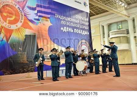 ST. PETERSBURG, RUSSIA - MAY 6, 2015: Military orchestra plays on the opening ceremony of International freestyle wrestling tournament Victory Day in Mikhailovsky manege