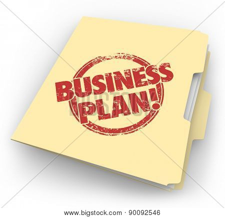Business Plan words in red grunge style stamp on a manila folder holding documents for your new company startup vision or strategy