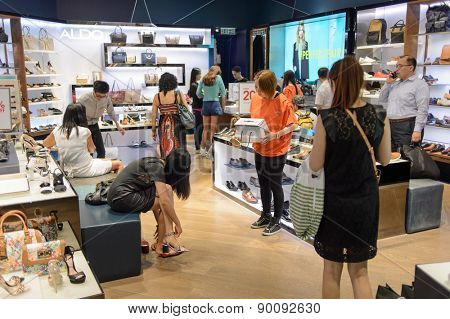 HONG KONG - MAY 05, 2015: Hong Kong shopping mall interior. Hong Kong shopping malls are some of the biggest and most impressive in the world