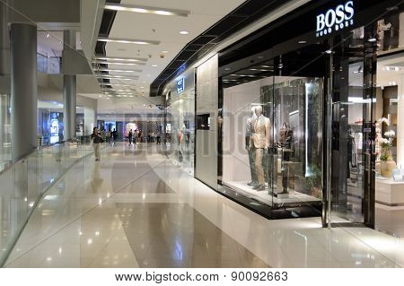 HONG KONG - MAY 05, 2015: Hugo Boss store interior. Hugo Boss AG is a German luxury fashion and style house based in Metzingen, Germany. It is named after its founder Hugo Boss