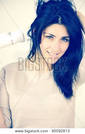 Cute Fresh Young Female Model Drying Long Black Hair