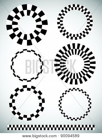 Different Checkered (chequered) Elements. Vector. Art Brush Template Included.