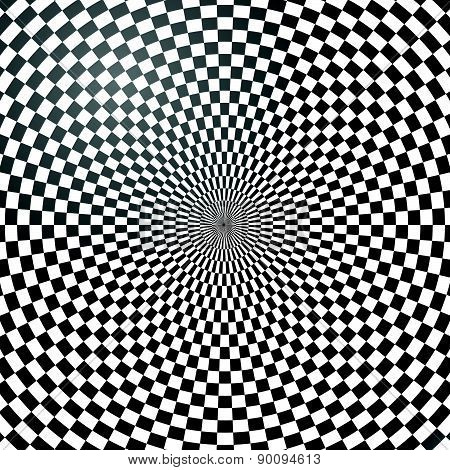 Circular Checkered (chequered) Abstract Background, Pattern. Vector.