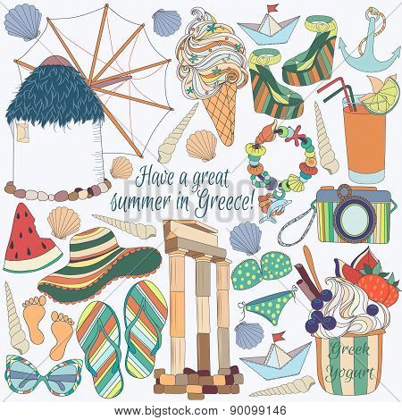 Travel to Greece Pattern.Summer vacation in Greece.