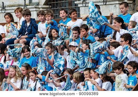 Young Boys With Flags In Palio Of Siena