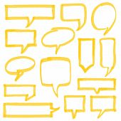 Set of hand drawn highlighter speech bubbles marks and pointers. Can be used for text highlighting marking or coloring in your designs. Optimized for one click color changes. EPS10 vector illustration with transparency. poster