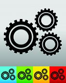 Gear gearwheel background in 5 colors to match your design. Vector. poster