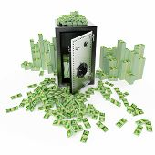 Safe deposit with moneys around it on a white background poster