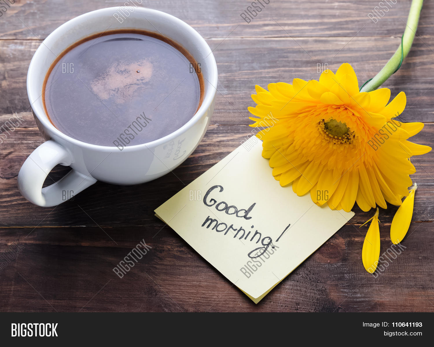Cup coffee yellow image photo free trial bigstock cup of coffee yellow gerbera flower and paper with text good morning mightylinksfo