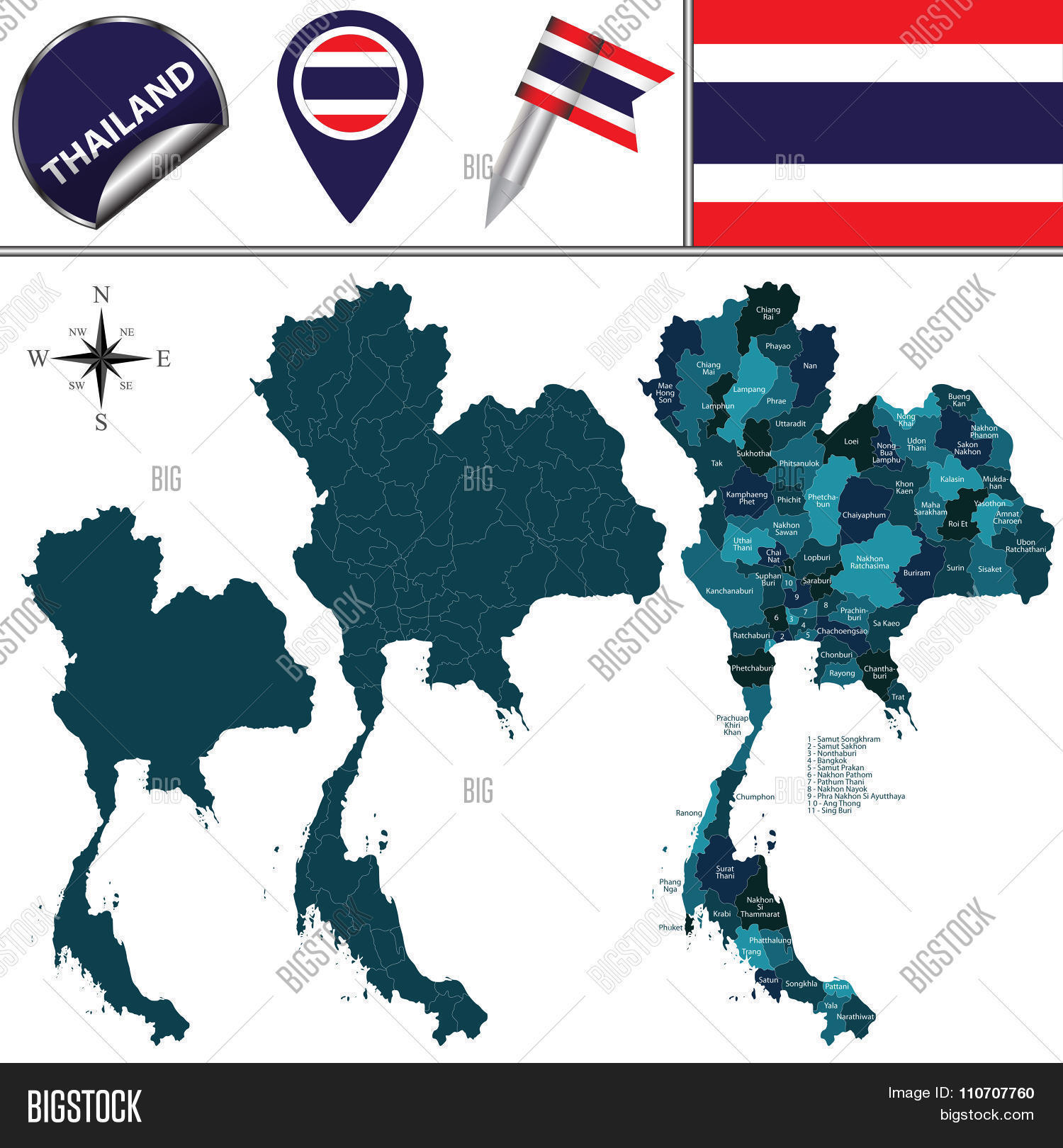 Map Thailand Vector & Photo (Free Trial) | Bigstock