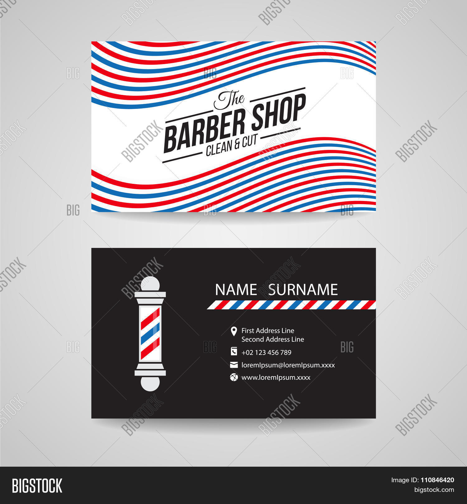 Business Card - Barber Shop Barber Vector & Photo | Bigstock
