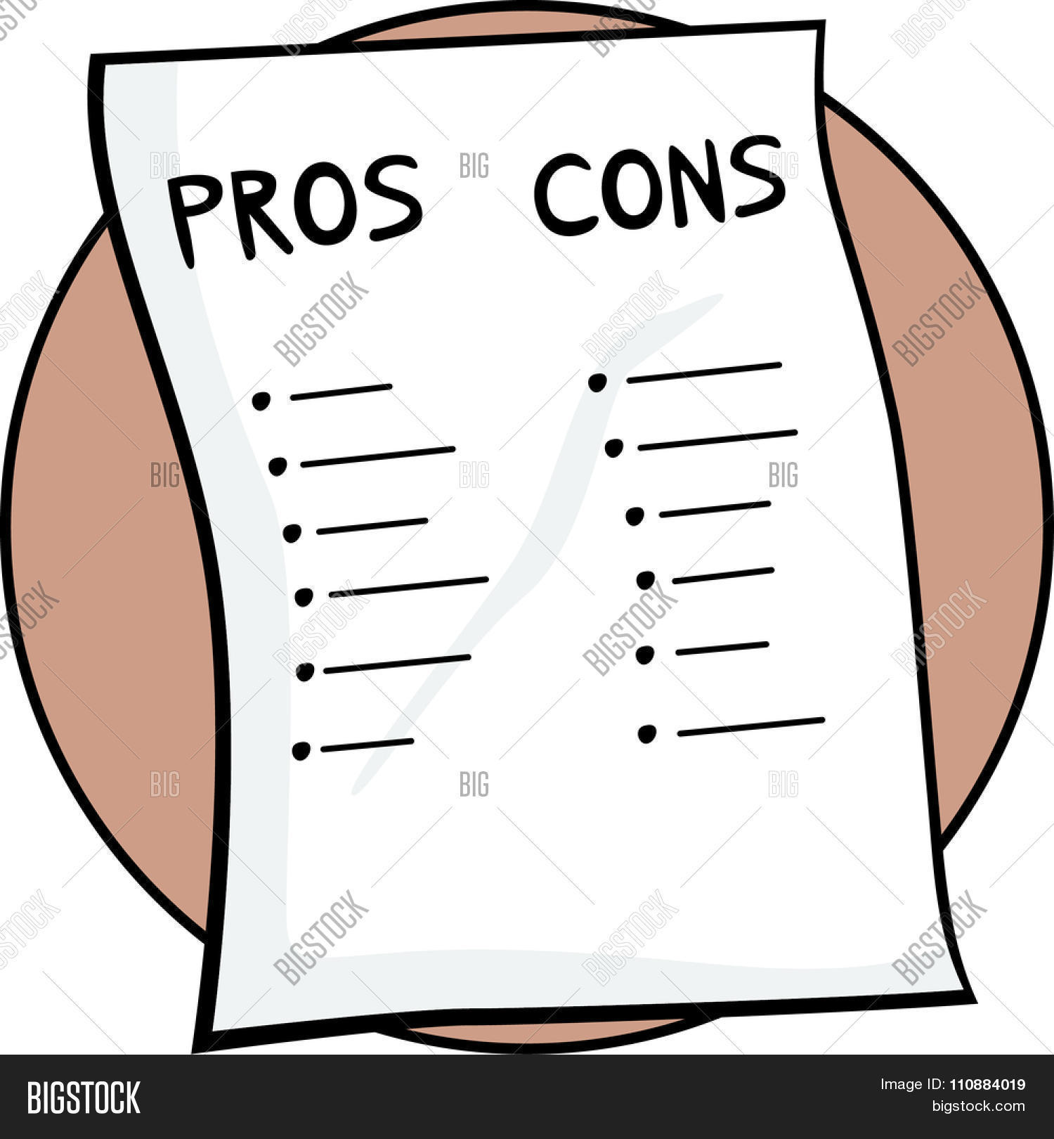 Pros Cons List Vector Photo Free Trial Bigstock