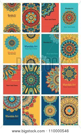 Set Of 16 Cards Or Invitations With Mandala.