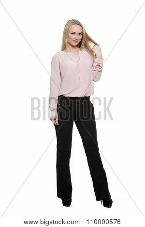 girl in pants and blous.  Isolated on white background. body language. women preening gestures. shak