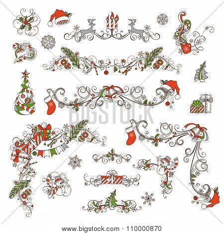 Christmas Page Dividers And Decorations Isolated On White Background.