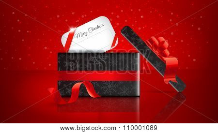 Christmas Gift On Red Background With Snow And Snowflakes. Merry Christmas Vector Illustration. Eps