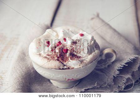 Valentine's Day Cup Of Cappuccino Coffe. Love Concept
