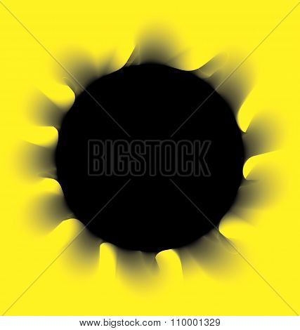 Black smoke circle on a yellow background