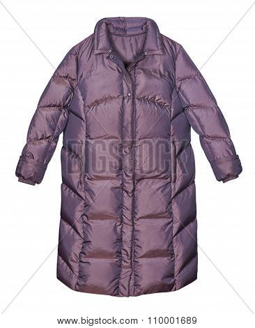 Winter Feather Coat On A White Background
