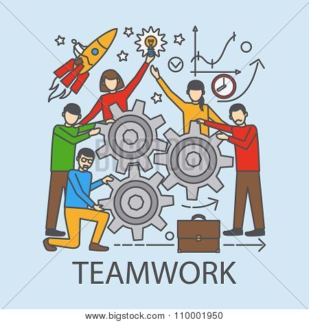 Teamwork concept with cogwheels