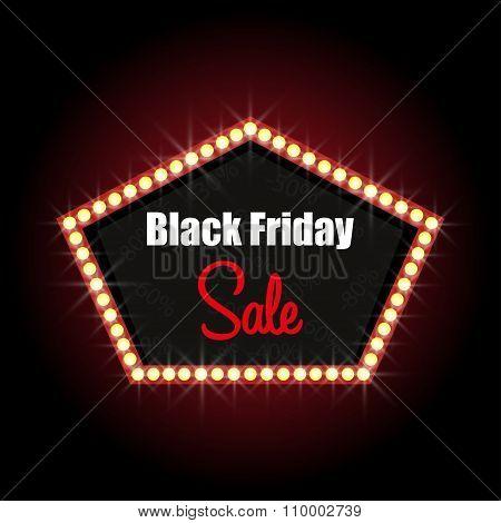 Black Friday Luminous Frame Stylish Design Sale