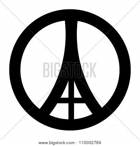 Sign Flat Style Eiffel Tower In Paris