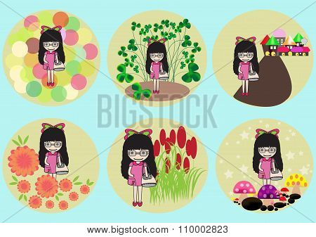 Pretty Girl Hold Handbag On Different Background
