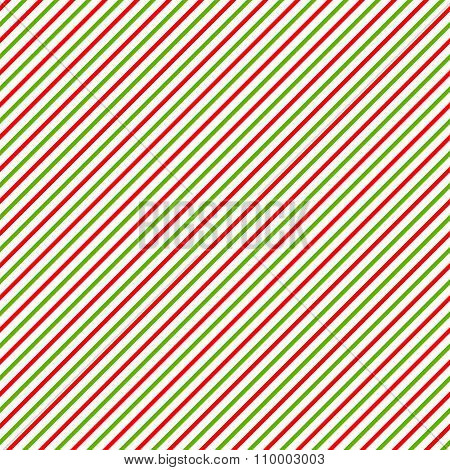 Christmass Background With Green, Red And White Diagonal Stripes.