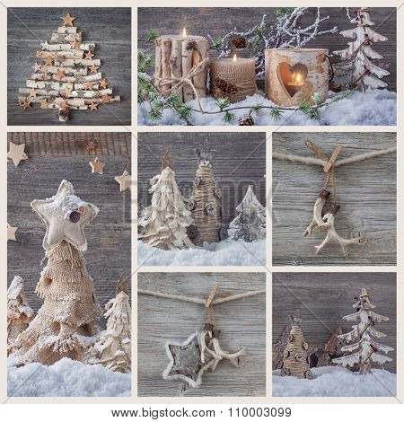 Collage with christmas decorations on a wooden background