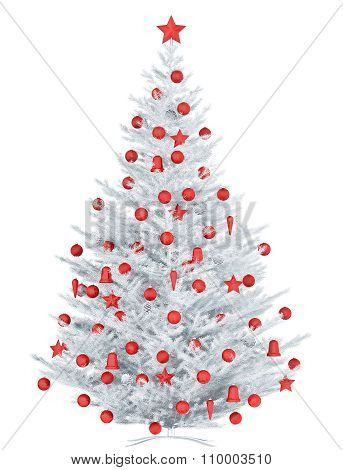 White Christmas Tree Isolated 3D Rendering
