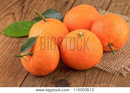 Mandarins Tangerines Fruits Rustic Still Life