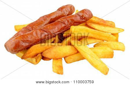 Saveloy Sausages And Chips