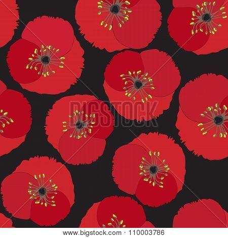 Seamless Background With Poppy Flowers On Black Background. Vector Eps10.