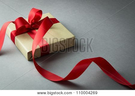 Rustic Gift Box With Red Ribbon