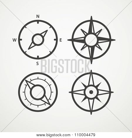 Wind rose and compass retro design vector collection
