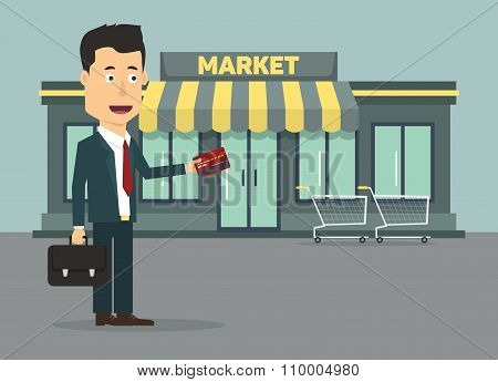 Vector flat illustration of a businessman with credit card