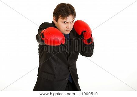 Punching furious young businessman with boxing gloves