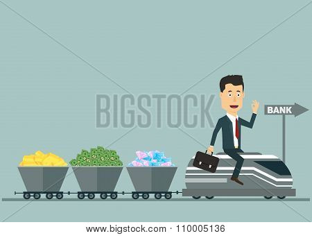 Vector flat businessman on the train with wagons full money
