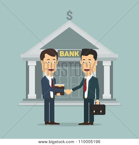 Vector flat illustration of two businessmen making the deal.