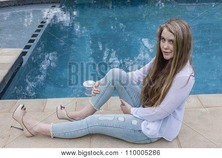 Girl Jeans Black White Pool