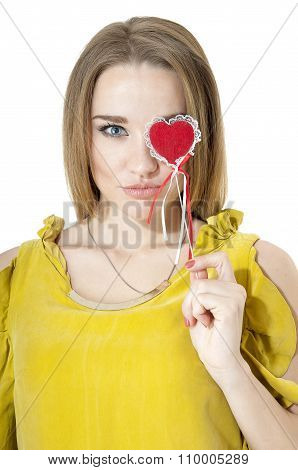 Portrait Of Beautiful Sexy Woman With Red Heart. Valentines Day Concepts.