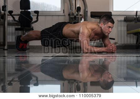 Healthy Man Doing Abdominal Excerise On Foor